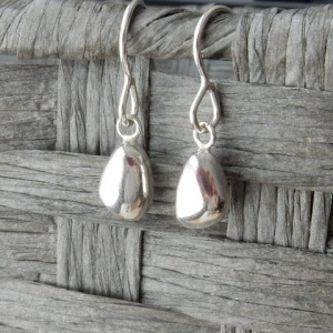 Pebble Silver Drop Earrings