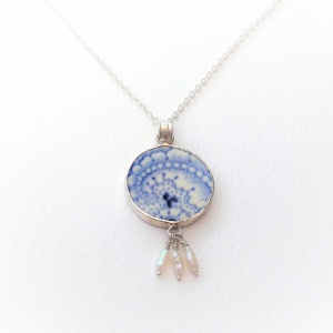 Coalport Canton Blue - Pendant with Pearls