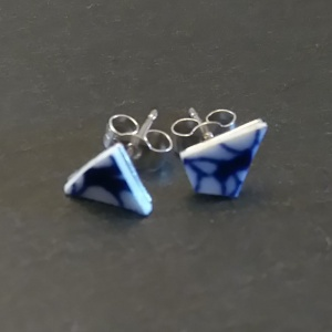 Coalport  Flow Blue - Chip Earrings