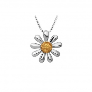 SILVER DAISY NECKLACE WITH 18CT GOLD PLATED CENTRE