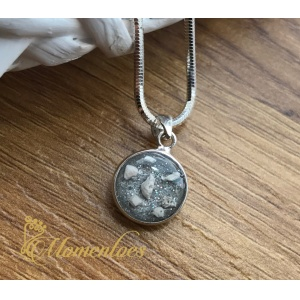 Sterling Silver Round Pendant with Ashes