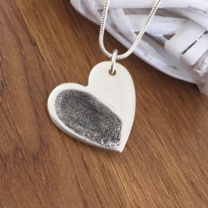 Silver fingerprint charm large