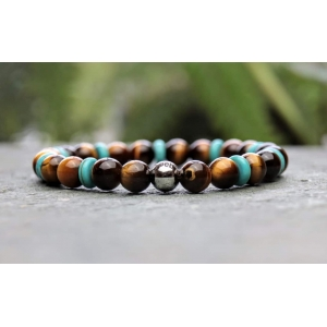 Tigers eye and Turquoise Beaded Bracelet