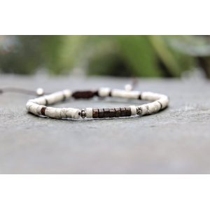 4mm Bronzite and Howlite Sterling Silver Beaded Bracelet