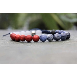 Red, White and Blue Beaded Diffuser Bracelet