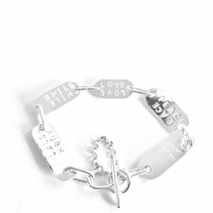 Laugh -Smile-Love-Peace-Live Link Bracelet