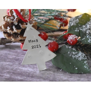 Personalised Sterling Silver Tree Decoration