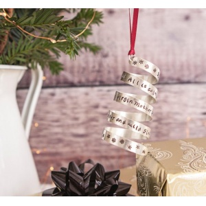 Personalised Sterling Silver Christmas Twirl Decoration