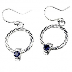 Twist Weave Circle Earrings with Iolites