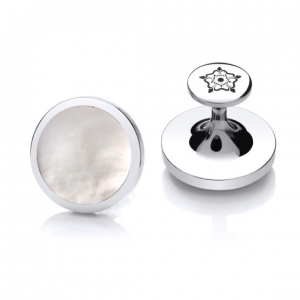 Sheffield Steel Cufflinks – Mother of Pearl