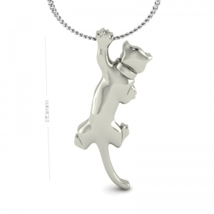 Silver Hanging Cat Pendant.
