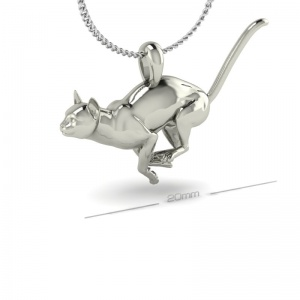 SILVER RUNNING CAT PENDANT