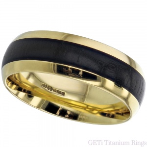 Yellow Gold Court Ring - Wood Inlay