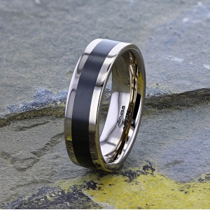 18K White Gold and Black Zirconium Wedding Ring