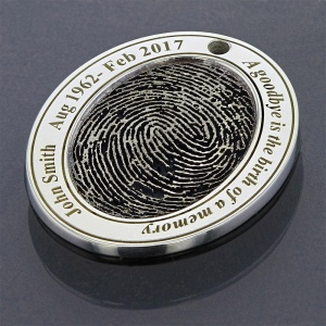 Memorial Silver Pendant with Fingerprint