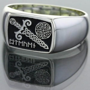 Silver Viking Sword Signet Ring