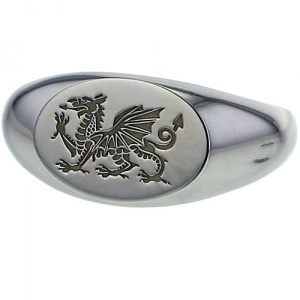 Silver Welsh Dragon Ring - Signet Style