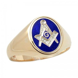 Square & Compass  'G' Signet Ring