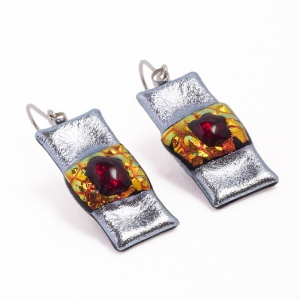 AVALON'S SPIRIT ELAINE FINE ART GLASS DROP EARRINGS LADY OF THE LAKE