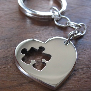 Heart Puzzle Keychain, Autism Awareness Keyring, Silver Heart with Puzzle