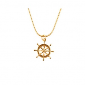Gold Captains Wheel Pendant