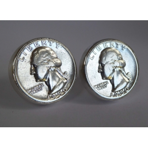 1950 silver 25cents sterling silver cufflinks hallmarked gifts for him anniversary birthday