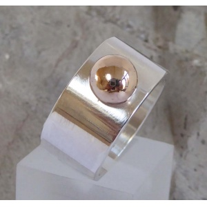 Wide silver & Gold ring