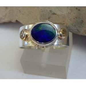 Blue Opal, gold & Silver wide ring