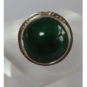 Green Malachite & silver statement ring