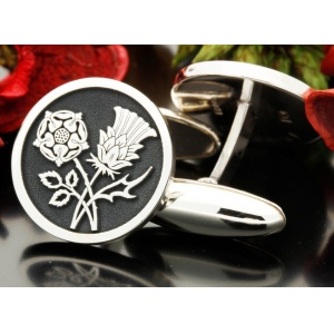 English Rose Scottish Thistle Design Cufflinks Silver