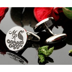 Love Peacock Monogram Silver Cufflinks