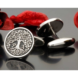 Love Heart Tree Bespoke Personalised Silver Cufflinks