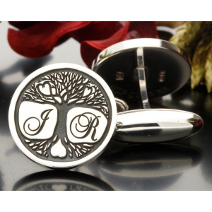 Tree of Life Bespoke Initial Cufflinks Silver