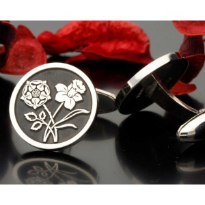 English Rose Welsh Daffodil Design Silver Cufflinks