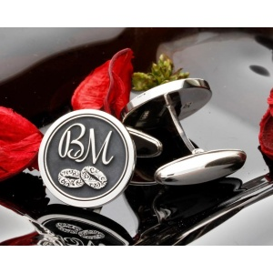 Wedding Ring Monogram Silver Cufflinks