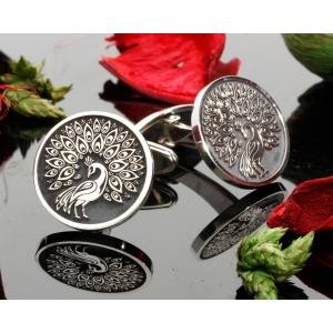 Peacock Engraved Silver Cufflinks