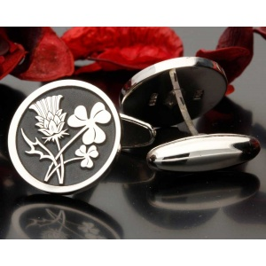 Scottish Thistle Irish Shamrock Design Cufflinks Silver