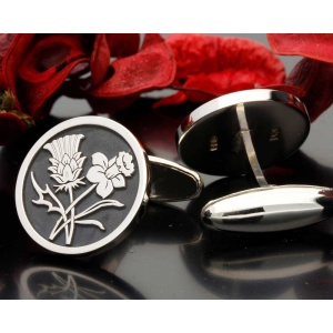 Scottish Thistle Welsh Daffodil Design Cufflinks Silver