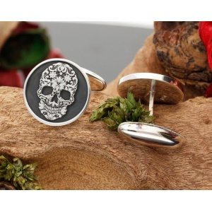 Sugar Skull  Silver Engraved Cufflinks