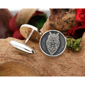 Tattoo Owl Silver Cufflinks