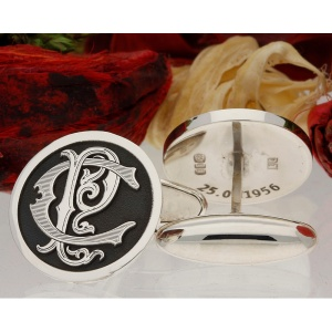Victorian Monogram Cufflinks Personalised Sterling Silver