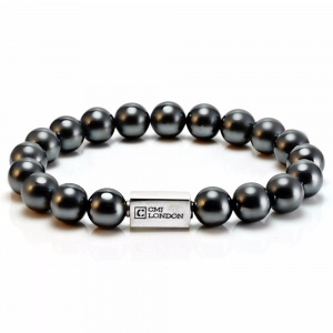 Mens Essential Hematite and Silver Bracelet