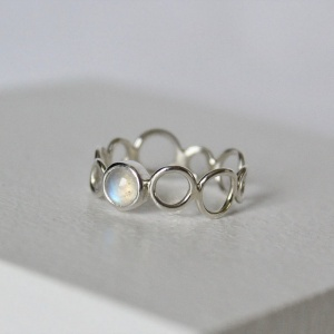 Sterling silver rainbow moonstone bubble ring