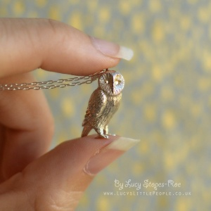 Handmade Sterling Silver/Gold Plated Barn Owl Pendant and Chain