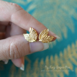 Handmade 18 Carat Gold Plated Sterling Silver Mint Leaf Stud Earrings