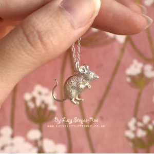 Handmade Sterling Silver Mouse Pendant and Chain