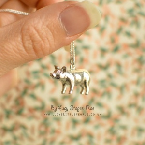 Handmade Sterling Silver Pig Pendant and Chain