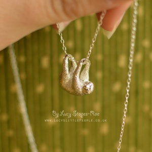 Handmade Sterling Silver Sloth Pendant and Chain