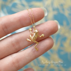 Handmade Gold Plated/Sterling Silver Tree Frog Pendant and Chain