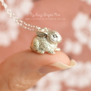 Handmade Sterling Silver Bunny Rabbit Pendant and Chain